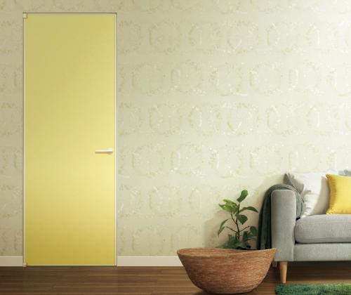 YKK AP㈱が発売する、壁紙を貼れるドア「famitto」の施工例 壁とコーディネートすることでインテリア性の高い空間を演出